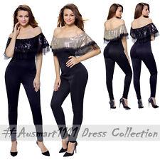 db443f38df Sexy Off Shoulder Sequin Ruffle Top Long Pants Slim Jumpsuit Playsuit  Bodysuit