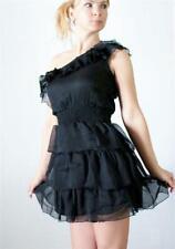 RAVIYA Black Chiffon Tiered Ruffled One Shoulder Venus Cut Short Dress