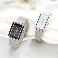 Men Women Rectangle Dial Stainless Steel Net Strap Quartz Wrist Watch Lot Soft