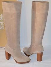 New $295 Michael Kors Regina Platform Boots Suede Dark Khaki Beige Boot Tall