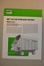 Massey Ferguson Brochure  -  MF114  116 Forage Boxes  -  silage wagons  -  1977