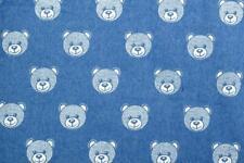 PRINTED Cotton Denim Fabric Material - LT BLUE BEARS