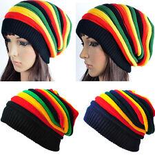 Beanie Knit Slouch Baggy Rasta Cap Men Women Stripe Jamaican Rasta Crochet Hat