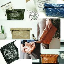 Korea Fashion Wrinkle Folding Clutch Bag Faux Leather Pouch Purse Handbag Wallet