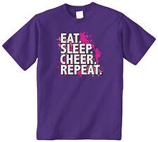 Eat Sleep Cheer Repeat Kids Youth T-Shirt Tee Cheerleader Chant Yell Slogan