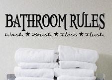 BATHROOM RULES wash brush floss flush WALL DECAL VINYL STICKER towel furniture