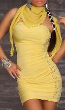 SeXy Damen Bandeau Mini Kleid Nieten Dress Schal S/M 34/36 M/L 36/38 senf Neu