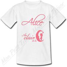 T-shirt Bébé Au Clair de la Lune Rose avec Prénom Personnalisé