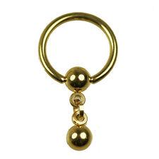 GOLD Intim PIERCING Schmuck Ohr Brust Kritoris Ring mit Kette K:5mm
