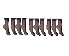 15 Denier Sheer Ankle Highs with Comfort Top Anklet Trouser Pop Socks 10 pair