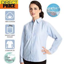 Women Shirt Ladies top Blouse Loose fit 100% Cotton Light Blue Shirt Long sleeve