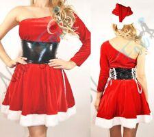 Christmas One Shoulder Long Sleeve Santa Womens Halloween Costume M-3XL