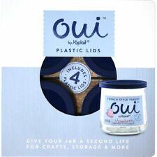 Set of 4 Jar Lids for Glass Oui Yogurt containers Craft, DIY, recycle, reuse NIB