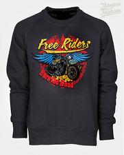 FELPA ROUTE 66 BIKER CUSTOM MOTO CHOPPER HARLEY STAMPA CLASSIC  FREE RIDERS ROAD