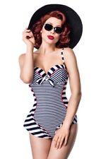 Originale costume intero vintage donna retrò bianco blu mare spiaggia uy 50038