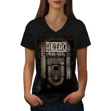 Wellcoda Funky Vintage Retro Womens V-Neck T-shirt, Retro Graphic Design Tee