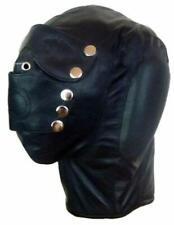 REAL Black Leather Sensory Deprivation Bondage Hood Mask with Mouth Plug
