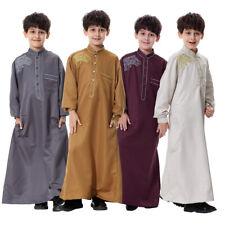 US Child Boys Muslim Robe Islamic Long Sleeve Abaya Kaftan Dishdasha Dress SR58