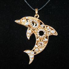 XL Delfin Anhänger Gold Silber Strass Kristall Wachskordel Kette Delphin Meer