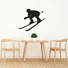 Schatten Wandtattoo  Ski Skifahrer Abfahrt Sport Wandaufkleber Wanddeko