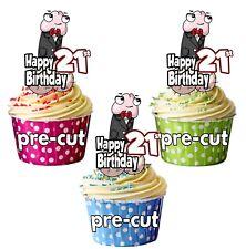 PRECUT Gracioso adecuado Willy Damas Cumpleaños 12 Taza Cake Toppers cualquier edad 18 a 115