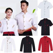 Unisex Cotton Short Long Sleeve Chef Jacket Coat Kitchen Servce Uniform Workwear