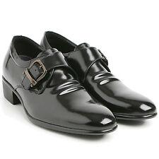 "Mens 2.6"" UP cow Leather height Monk wrinkle Korea elevator shoes Black US6-US10"