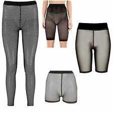 Womens Elasticated Slim Fit Mesh Fishnet Cycling Shorts Hot Pants Leggings
