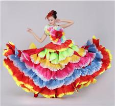 Spanish Flowers Dance Flamenco Swing Big Ruffle Skirt Gypsy Stage Costume Dress