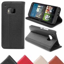 HTC One M9 Wallet Schutz Tasche Wallet Handy Hülle Etui Echt Leder Premium
