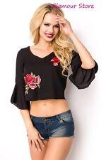 Sexy CAMICIA ESTIVA NERA taglia S,M,L,XL (40,42,44,46) blusa top GLAMOUR fashion
