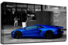 Blue Lamborghini Aventador Sports Car Photography Premium Framed Canvas Art P…