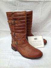 BNIB Authentic UGG Australia Tatum Biker Boots (RRP £275) Chestnut (UK 3.5)