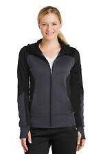 Sport-Tek  Ladies Tech Fleece Colorblock Full-Zip Hooded Jacket. LST245