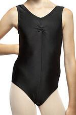 Black Sleeveless Nylon Lycra Ballet/ Tap Leotard. Adult Sizes 8, 10, 12, 14, 16