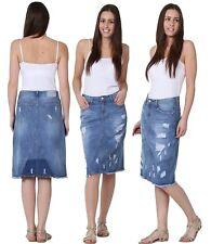 Premium Ladies Womens Long Knee Length Denim Skirt Dress 12 14 16 18 20 22