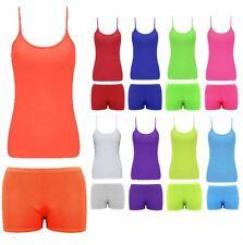 Womens Microfiber Sleeveless Neon Vest Hot Pant Set Ladies Gym Dance Sports Wear