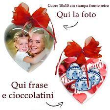 Idea Regalo per Festa della Mamma cuore personalizzato foto cioccolatini frase