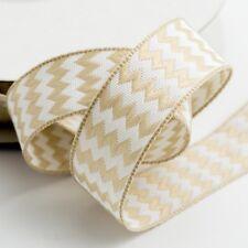 Pale Gold Double Sided Zig Zag Satin Chevron Ribbon 15mm x 10m Italian Options