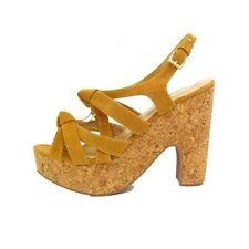 Ladies Tan Suede Platform Cork Heel Sandals Shoes Women's Size 8 (EU 40)
