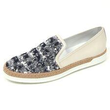 D0498 sneaker donna TOD'S scarpa avorio/argento paillettes slip on shoe woman
