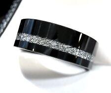 Black Matching Bands Set, Tungsten Wedding Bands, Meteorite Inlay Rings 7mm 9mm