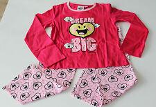 Pyjama Set Schlafanzug Nachtzeug Mädchen Smiley rot Größe 116 128 140 152 #35
