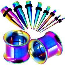 Double Flared Tunnel Plug Dehnstab Dehnungsstab Piercing Set Edelstahl Rainbow