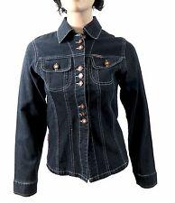 Women's Stylish Casual Dark Denim Jacket button down to the centre