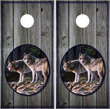 Wolves Wolf Scenery Wood Background (grey) Cornhole Board Decal Wrap Wraps