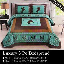 Western Star Cowboy Horse Horseshoe Quilt Bedspread Comforter Shams 3 Pcs Set