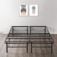 14'' Easy Setup Bi-Fold Metal Bed Frame w Under bed Storage, Mattress Foundation