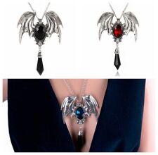 Punk Gothic Rockabilly Black/Red/Blue Bat Spike Silver Thrones Necklace Pendant