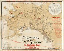 1898 Map Routes San Francisco To Alaska & The Klondike Gold Rush Mining Mines